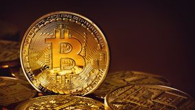 Goldenes Bitcoins auf einem Goldhintergrund Lizenzfreies Stockfoto