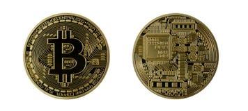 Goldenes Bitcoins (digitales virtuelles Geld) lokalisiert Lizenzfreie Stockfotos