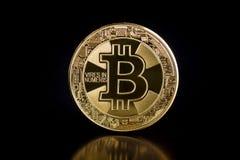 Goldenes Bitcoins Münze von cryptocurrency Lizenzfreie Stockfotos