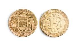 Goldenes Bitcoins Münze von cryptocurrency Lizenzfreies Stockbild