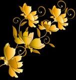 Goldenes Blumenbündel auf schwarzem Hintergrund Lizenzfreies Stockfoto