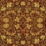 Goldenes Blumenmuster auf braunem schäbigem backgraund Lizenzfreies Stockbild