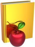 Goldenes Buch und roter Apfel. Zurück zu Schule stock abbildung