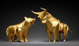 Goldenes Bulle und Bär lizenzfreie abbildung