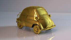 Goldenes cartoonish Auto Lizenzfreie Stockfotografie