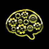 Goldenes Chromgehirn mit Gängen Denken Sie Design über schwarzer Hintergrundvektorillustration Stock Abbildung