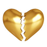 Goldenes defektes Herz Stockbild
