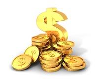 Goldenes Dollar-Symbol mit Stapeln Münzen Lizenzfreie Stockfotos