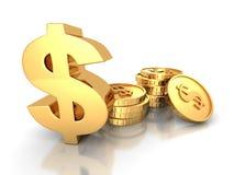 Goldenes Dollar-Symbol mit Stapeln Münzen vektor abbildung
