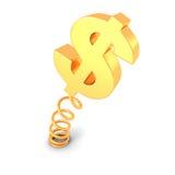 Goldenes DollarWährungszeichen auf Frühling Geschäftskonzept getrennt auf Weiß Lizenzfreies Stockbild