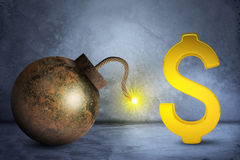 Goldenes Dollarzeichen mit Bombe stockbilder