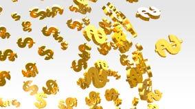 Goldenes Dollarzeichenfliegen auf dem hellen Hintergrund stockfoto