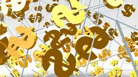Goldenes Dollarzeichenfliegen auf dem hellen Hintergrund lizenzfreies stockfoto
