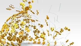 Goldenes Dollarzeichenfliegen auf dem hellen Hintergrund stockfotografie