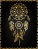 Goldenes dreamcatcher, Vektorillustration Stockfoto
