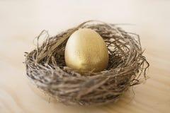 Goldenes Ei in einem Nest Stockfotos