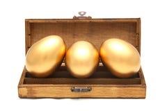 Goldenes Ei im Kasten lizenzfreies stockbild