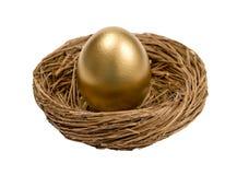 Goldenes Ei im Nest getrennt auf Weiß Lizenzfreie Stockfotografie