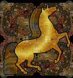 Goldenes Einhorn, ethnischer kopierter mit Blumenhintergrund Stockfotos