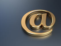 Goldenes eMail-Symbol Stockfotos
