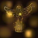 Goldenes Engelsschattenbild auf braunem glühendem Goldhintergrund Engel mit glänzender Sonne oder Stern in seinen Händen Stockfotos