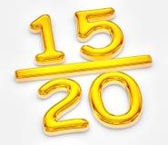 Goldenes Ergebnis von fünfzehn aus Illustration zwanzig heraus vektor abbildung