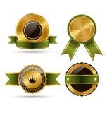 Goldenes erstklassiges Qualitäts-Bestes beschriftet Sammlung auf Weiß Stockfoto