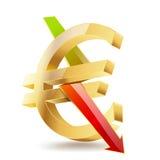 Goldenes Eurosymbol Stockfoto