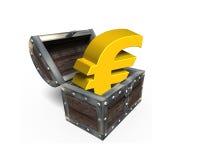 Goldenes Eurosymbol in der Schatztruhe, Wiedergabe 3D Stockfotos