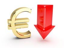 Goldenes Eurosymbol und unten Pfeile Stockfoto
