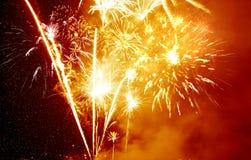 Goldenes Feuerwerk Stockfotografie