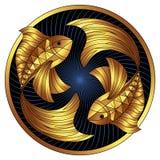 Goldenes Fisch-Sternzeichen, Vektorhoroskopsymbol lizenzfreie abbildung