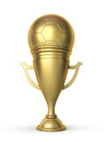 Goldenes Fußball-Cup Stockfotografie