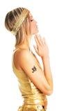 Goldenes Gebetmädchen Lizenzfreies Stockfoto