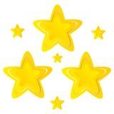 Goldenes Gelb der Sterne auf weißem Hintergrundvektor Stockfotos