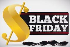 Goldenes Geld-Symbol mit Aufkleber und Tags für Black Friday, Vektor-Illustration Lizenzfreies Stockfoto