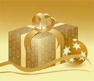 Goldenes Geschenk Stockfotografie