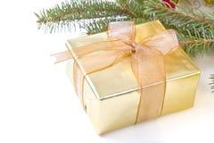 Goldenes Geschenk stockbild