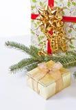 Goldenes Geschenk lizenzfreie stockfotos