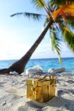 Goldenes Geschenk auf Ozeanstrand Lizenzfreie Stockbilder