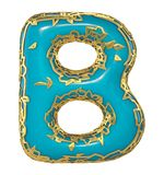 Goldenes glänzendes metallisches 3D mit Großbuchstaben B - Versalien des blauen Farbensymbols lokalisiert auf Weiß 3d stock abbildung