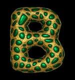 Goldenes glänzendes metallisches 3D mit Großbuchstaben B - Versalien des Symbols des grünen Glases lokalisiert auf Schwarzem stock abbildung