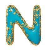 Goldenes glänzendes metallisches 3D mit Großbuchstaben N - Versalien des blauen Farbensymbols lokalisiert auf Weiß 3d stock abbildung