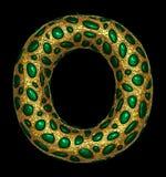 Goldenes glänzendes metallisches 3D mit Großbuchstaben O - Versalien des Symbols des grünen Glases lokalisiert auf Schwarzem vektor abbildung
