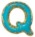 Goldenes glänzendes metallisches 3D mit Großbuchstaben Q - Versalien des blauen Farbensymbols lokalisiert auf Weiß 3d lizenzfreie abbildung
