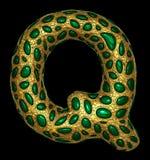 Goldenes glänzendes metallisches 3D mit Großbuchstaben Q - Versalien des Symbols des grünen Glases lokalisiert auf Schwarzem vektor abbildung