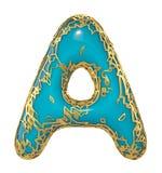 Goldenes glänzendes metallisches 3D mit Großbuchstaben A - Versalien des blauen Farbensymbols lokalisiert auf Weiß 3d lizenzfreie abbildung