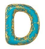 Goldenes glänzendes metallisches 3D mit Großbuchstaben D - Versalien des blauen Farbensymbols lokalisiert auf Weiß 3d vektor abbildung