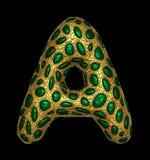 Goldenes glänzendes metallisches 3D mit Großbuchstaben A - Versalien des Symbols des grünen Glases lokalisiert auf Schwarzem stock abbildung