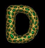 Goldenes glänzendes metallisches 3D mit Großbuchstaben D - Versalien des Symbols des grünen Glases lokalisiert auf Schwarzem vektor abbildung